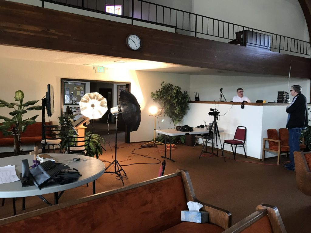 Setting up for Sunday Service, April 5, 2020